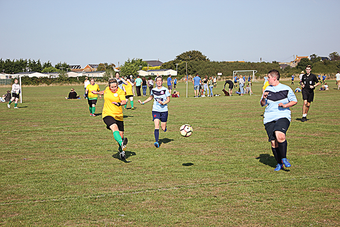 A shot at goal by Thanet Ladies Vets in the final against Females Who Football